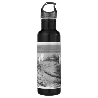 BW Fort Pierce, Florida beach walk dune roped off Stainless Steel Water Bottle