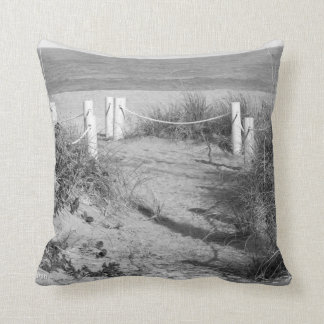 BW Fort Pierce, Florida beach walk dune roped off Throw Pillow