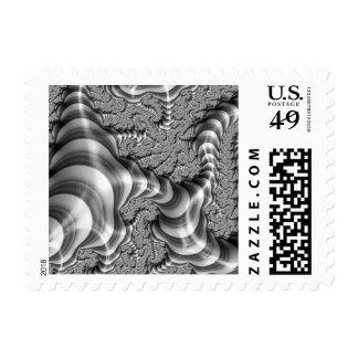 BW Fractal Stripes Postage Stamp