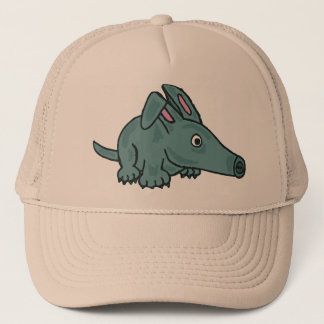 BW- Funny Cartoon Aardvark Hat