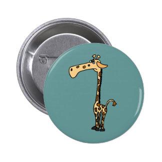 BW- Funny Sad Giraffe Button