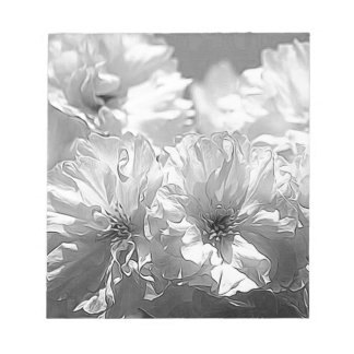 BW Garden Flowers Note Pads