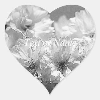 BW Garden Flowers Heart Sticker