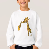 BW- Giraffe Playing Saxophone Shirt