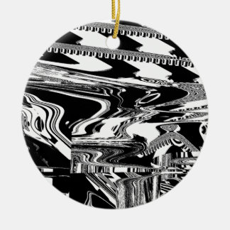 BW Glitch 1 (BW) Ceramic Ornament