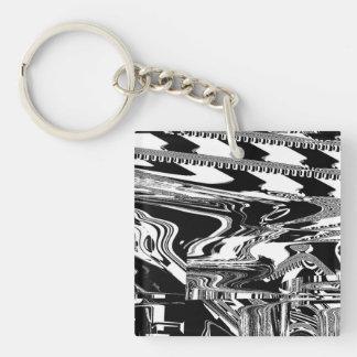 BW Glitch 1 (BW) Keychain