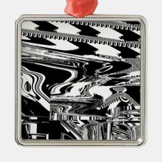 BW Glitch 1 (BW) Metal Ornament