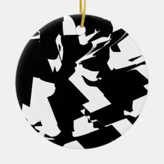 BW Glitch 2(BW) Ceramic Ornament