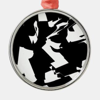 BW Glitch 2(BW) Metal Ornament