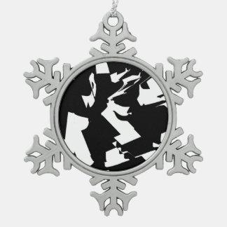 BW Glitch 2(BW) Snowflake Pewter Christmas Ornament