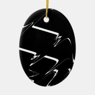 BW Glitch 3 (BW) Ceramic Ornament