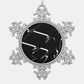 BW Glitch 3 (BW) Snowflake Pewter Christmas Ornament