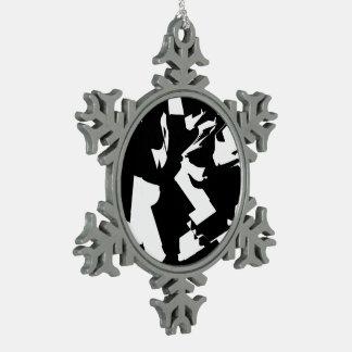 BW Glitch  (BW) Snowflake Pewter Christmas Ornament