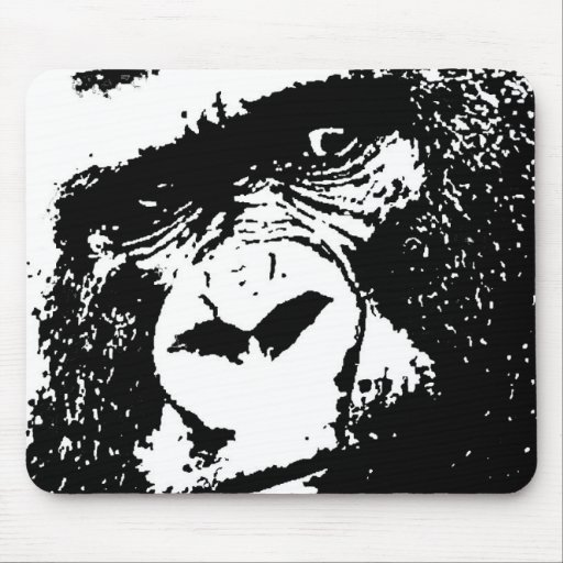BW Gorilla Face Mouse Pads