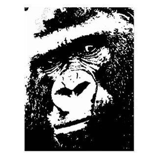 BW Gorilla Face Postcards