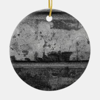 BW Grunge Brick Texture Photography Christmas Tree Ornament