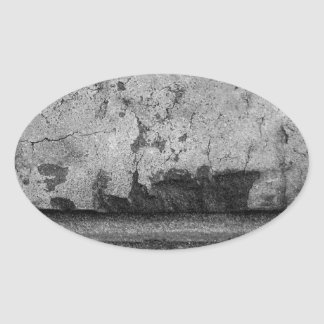BW Grunge Brick Texture Photography Oval Sticker
