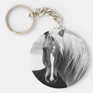 BW Horse Portrait Keychain