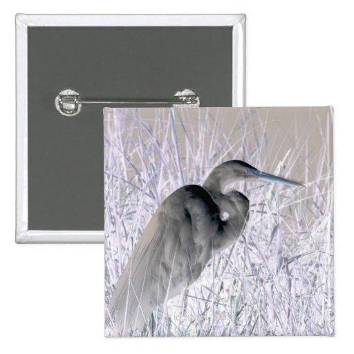 bw invertido del egret frecuentado pin cuadrado