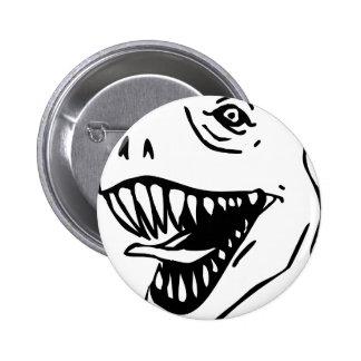 BW Lineart T Rex Pinback Button