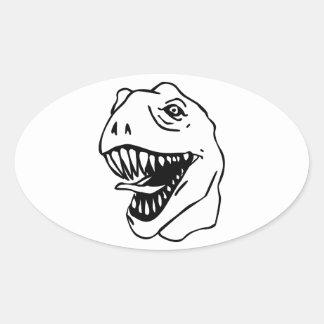 BW Lineart T Rex Oval Sticker