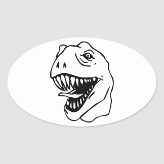 BW Lineart T Rex Pegatina Ovalada