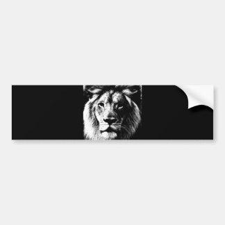 BW Lion Face Bumper Sticker