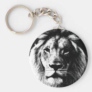 BW Lion Face Keychain