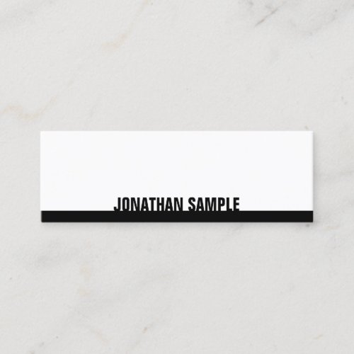 BW Modern Elegant Black White Plain Professional Mini Business Card