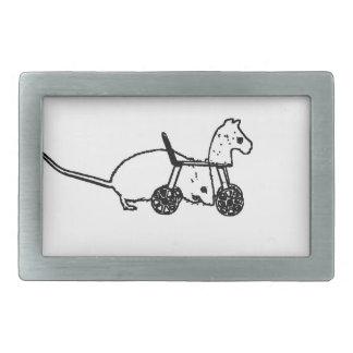 bw mouse outline hobby horse cute animal design rectangular belt buckles