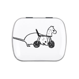 bw mouse outline hobby horse cute animal design candy tins