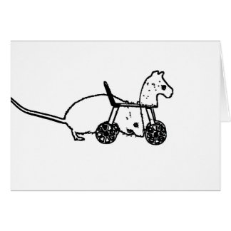 bw mouse outline hobby horse cute animal design greeting card