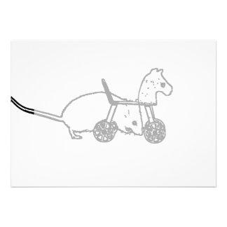 bw mouse outline hobby horse cute animal design card