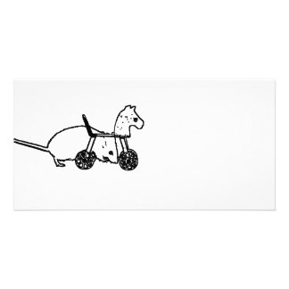 bw mouse outline hobby horse cute animal design photo card template