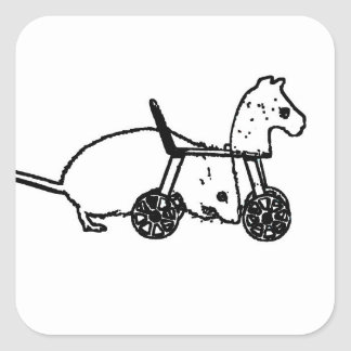 bw mouse outline hobby horse cute animal design square sticker