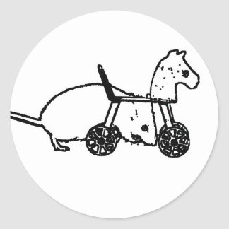 bw mouse outline hobby horse cute animal design round stickers