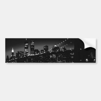BW New York City at Night Car Bumper Sticker