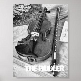 BW Portrait of the Maestro DePue's Violin Poster