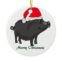 BW- Pot Bellied Pig in Santa Hat Ornament