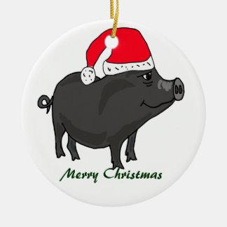 BW- Pot Bellied Pig in Santa Hat Ornament