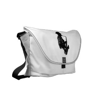 BW sax player side view outline Courier Bag
