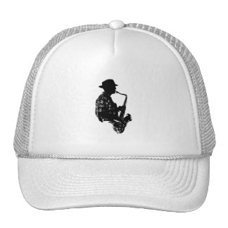 BW sax player side view outline Trucker Hat