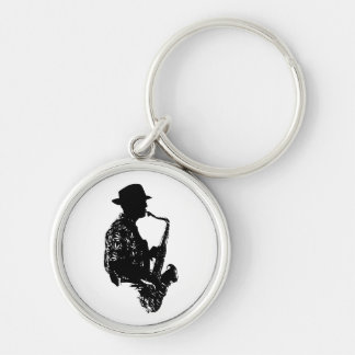 BW sax player side view outline Keychain