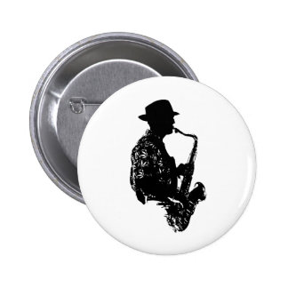 BW sax player side view outline Pinback Button