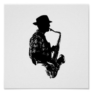 BW sax player side view outline Poster