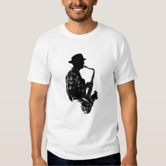 BW sax player side view outline Shirt