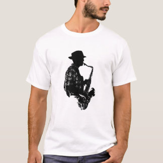 BW sax player side view outline T-Shirt