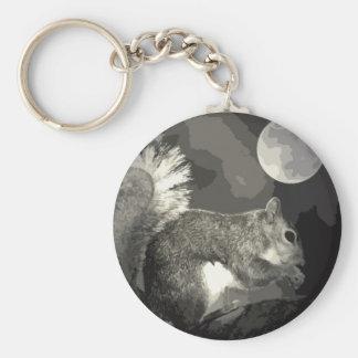 BW Squirrel & Moon Basic Round Button Keychain
