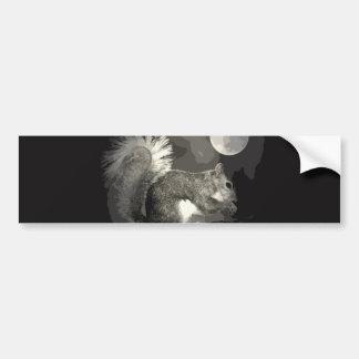BW Squirrel & Moon Bumper Sticker