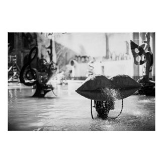 BW Stravinski Fountain in Paris Posters